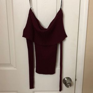 Small - Burgundy off-shoulder sweater